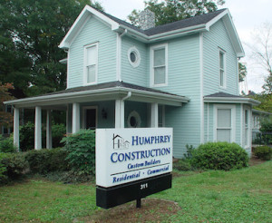 Humphrey Construction home office in historic Dallas NC